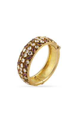 RHODO WHITE KUNDAN BANGLE