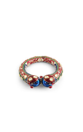 WHITE KUNDAN RED GREEN ENAMEL PEACOCK FACE BRACELET