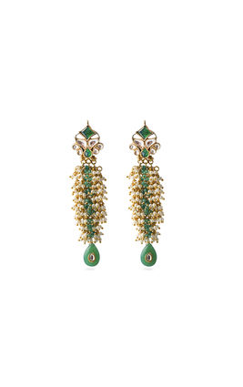 GREEN & WHITE KUNDAN EARRINGS