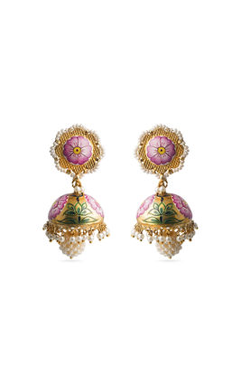 BIKANERI ENAMEL ZUMAR EARRINGS