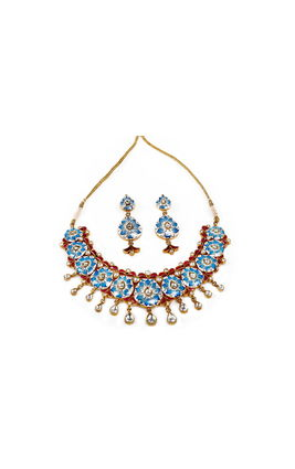 TURQUOISE BIKANERI KUNDAN NECKLACE SET