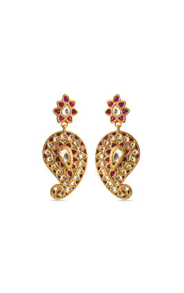RED WHITE KUNDAN EARRINGS