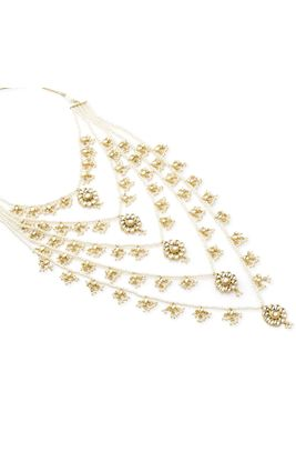 WHITE KUNDAN & PEARL NECKLACE SET