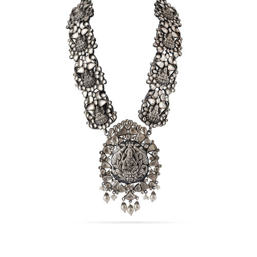 WHITE KUNDAN TEMPLE AASHNA LONG NECKLACE