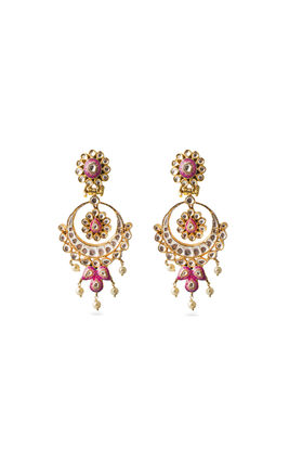 WHITE & PINK BIKANERI KUNDAN EARRINGS