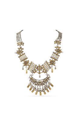 GOLD SILVER AASHNA NECKLACE