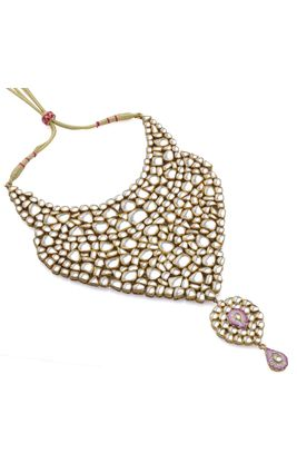 MIHIKA WHITE KUNDAN BIKANERI HEAVY NECKLACE SET