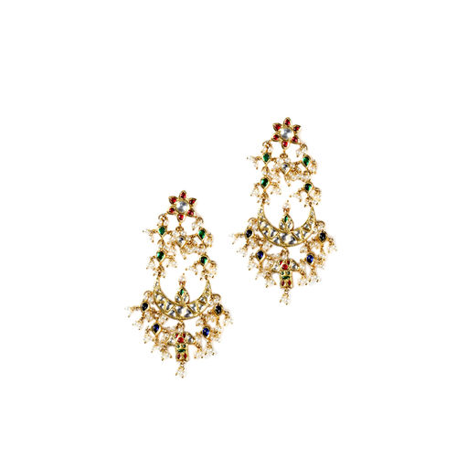 MULTI KUNDAN CHAND EARRINGS