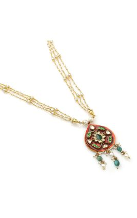 GREEN WHITE KUNDAN ORANGE ENAMEL PENDANT SET