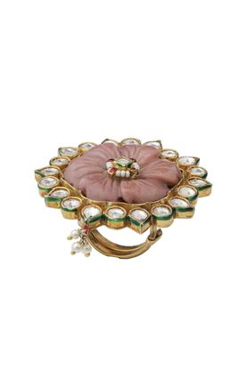 WHITE STONE GREEN ENAMEL BORDER KUNDAN RING