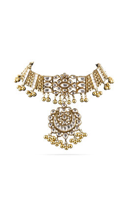 FULL WHITE KUNDAN CHAND NECKALCE SET