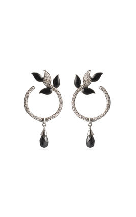 Black enamel CZ earrings