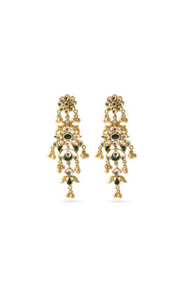Green white kundan earrings
