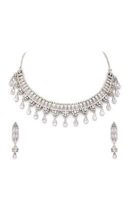 CZ WHITE PLATING NECKLACE SET
