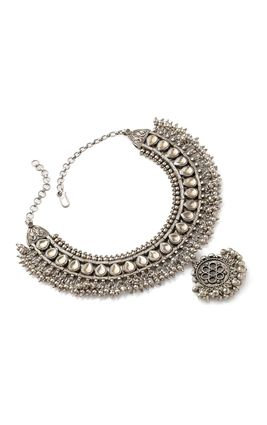 SILVER ROUND PIECE HEAVY NECKLACE