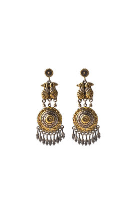 Golden & silver carving earrings