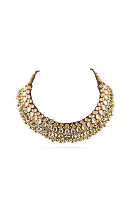 FULL WHITE KUNDAN THREAD NECKLACE SET