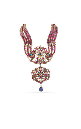 PINK BLUE 4 LINE KUNDAN NECKLACE SET
