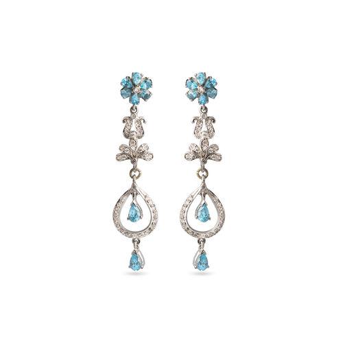 Aqua blue CZ earrings