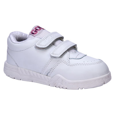 Rex Gola White Velcro School Shoes, 7c