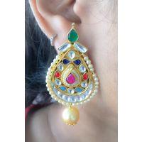 Navratan kundan earrings for women - KEG151