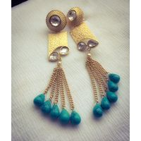 Long beaded and kundan earrings - KEG160