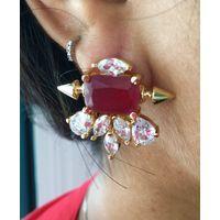 American diamond and Ruby studs - EG282
