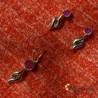 Stylish ruby pendant set-PD043