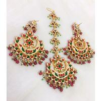 Chaandbali earrings and maangtika combo for women - KEG154