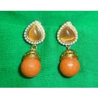 Pretty earrings in orange-KEG083