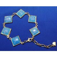 Chain bracelet with blue stones-MB021