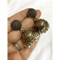 Stylish jhumkis in antique finish - ME098