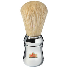 Omega 10048 Pure Bristle Shaving Brush, Chrome Plated