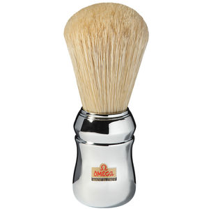 Omega 10048 Pure Bristle Shaving Brush, Chrome Plated