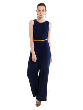 Sleeveless Jumpsuit with Waist Belt, m, navy blue