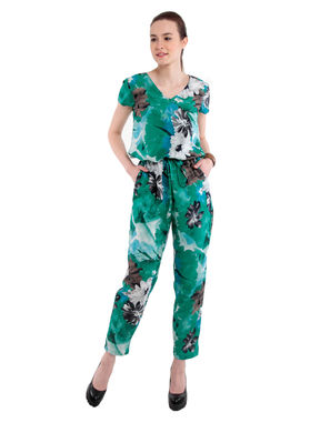 Tie Up Waist Jumpsuit, s, green