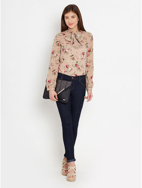 Printed Pussy Bow Blouse, s, beige
