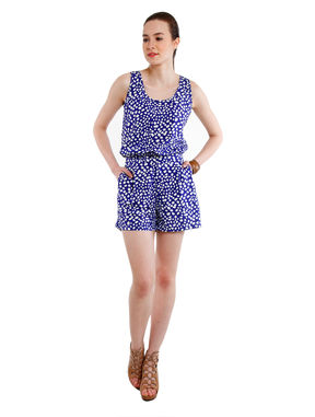 Blue Rompers with Pockets, l, blue