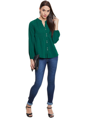 Green Empire Line Top With Pintucks, m, green