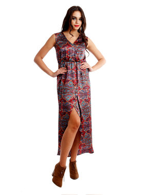 Wrap dress with elasticated waist, xl, satin, multi