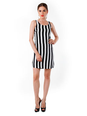 Striped Monochrome Mini, s, white
