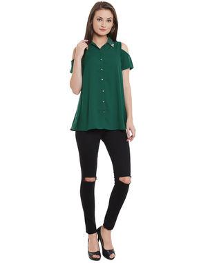 Green Cold Shoulder Embellished Shirt, green, s