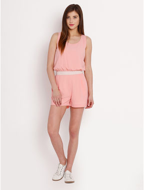 Peach Jumpsuit with Lace waistbelt, m, peach