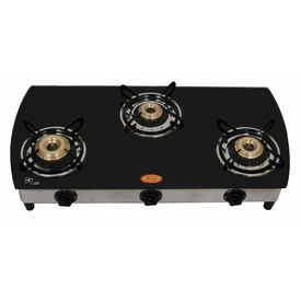 Surya Three Burner Curve Black Auto Ignition Gas Cooktop