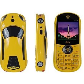 Agtel Ferrari Car Model Dual Sim Mobile Phone in Yellow Colour