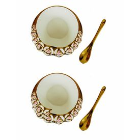 Hi Luxe Bone China Bowl Set and Two Pcs of Spoon Pack of 4 In White Colour