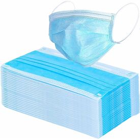 Surya Maplin 3-Ply Non woven Mask With Adjustable nose Pin set of 100 Pcs in Blue Colour