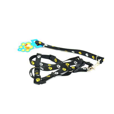 Easypets CASUAL Adjustable Pet dog leash with collar (Large) (Black)