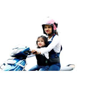 KIDSAFE BELT - Two Wheeler Child Safety Belt - World's 1st, Trusted & Leading (Cool Black Plain), black