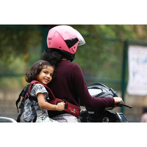 KIDSAFEBELT - Two Wheeler Child Safety Belt - World's 1st, Trusted & Leading (Air Maroon), maroon